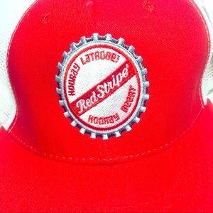 Red Stripe Beer Snap Back Trucker Hat Hooray Beer